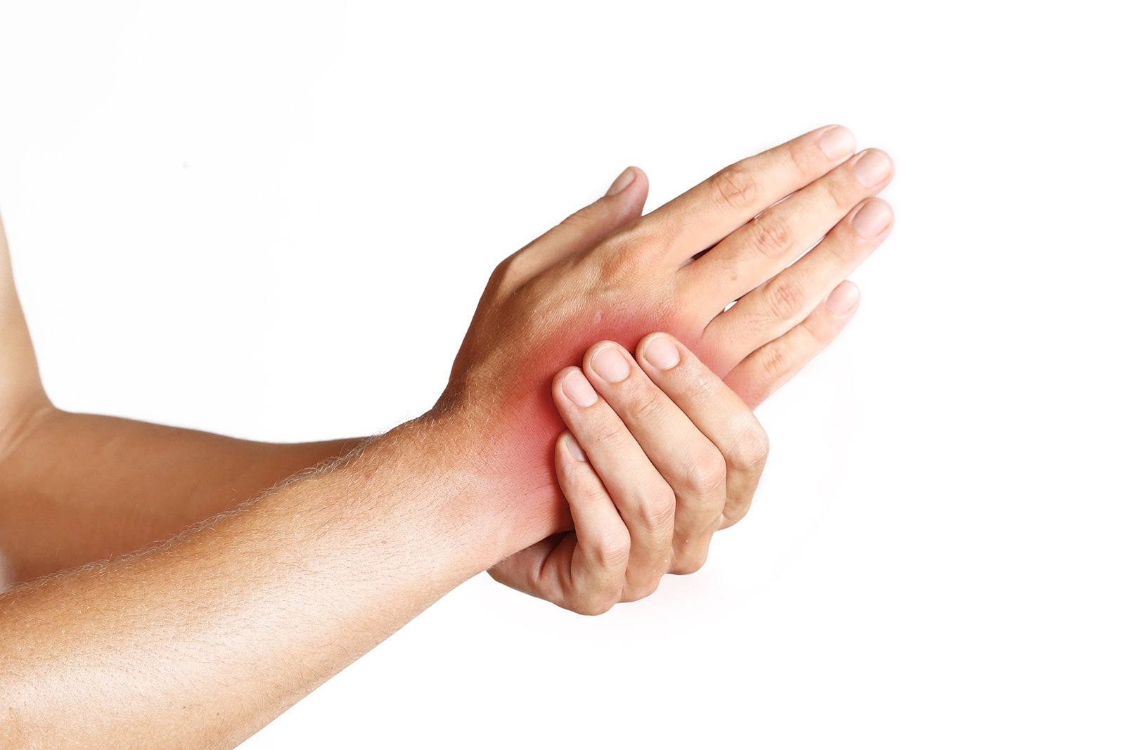 person holding hand that is in pain